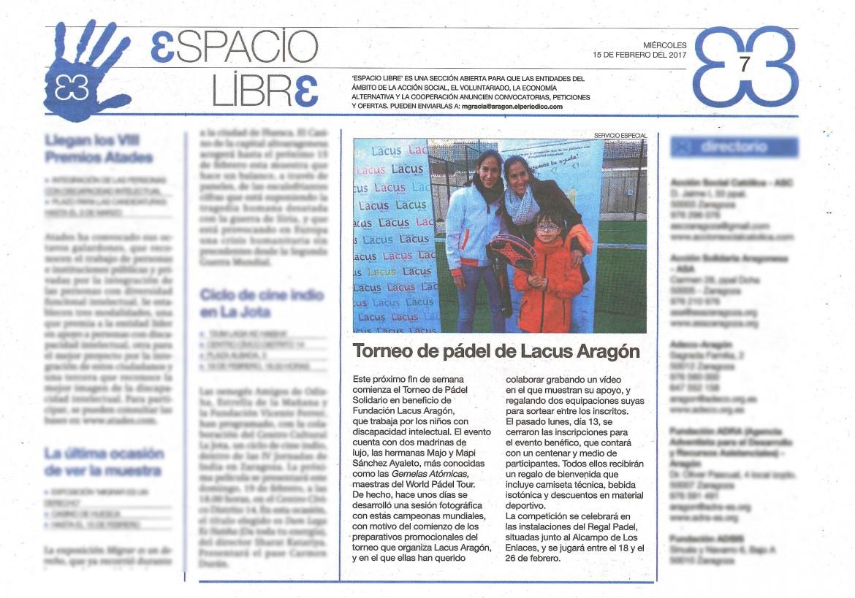 Periodico de Aragón Padel 15022017