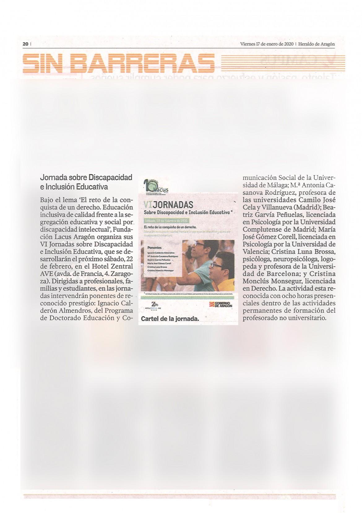 Heraldo de Aragón SB 17 ENERO 2020