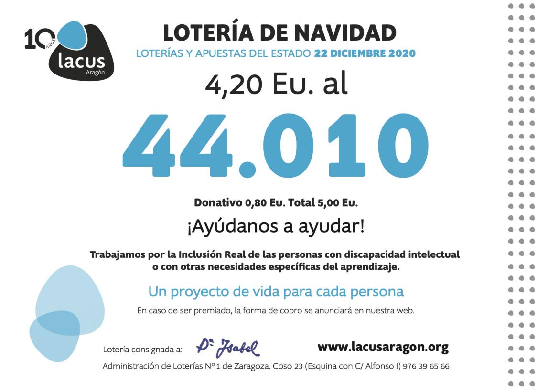 Cartel lotería de Navidad Lacus Aragón 2020
